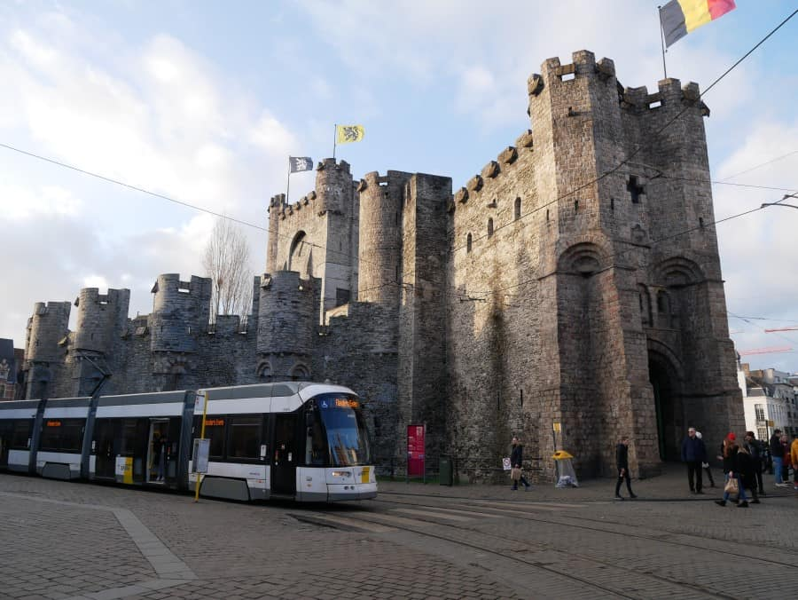 view of the Gravensteen, Ghent with public transport in front