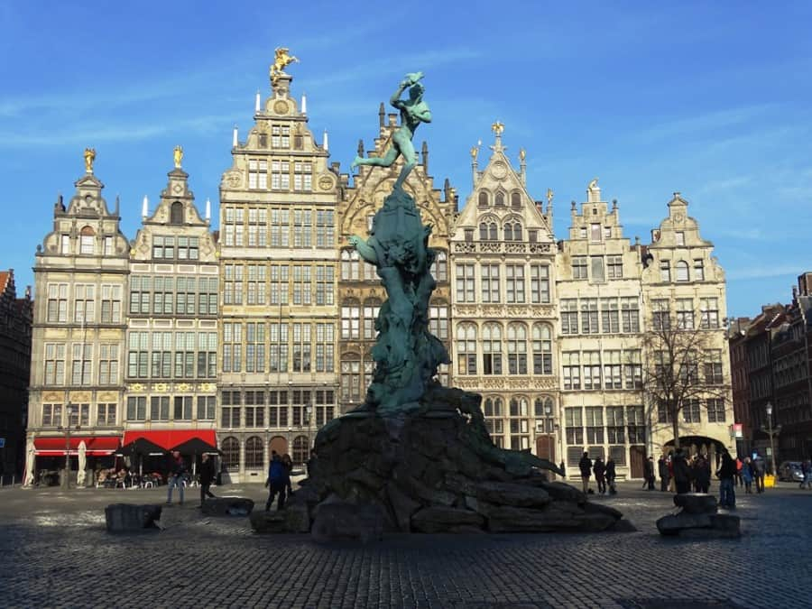 The Grote Markt in Antwerp, with the statue of Brabo and the old houses in the background
