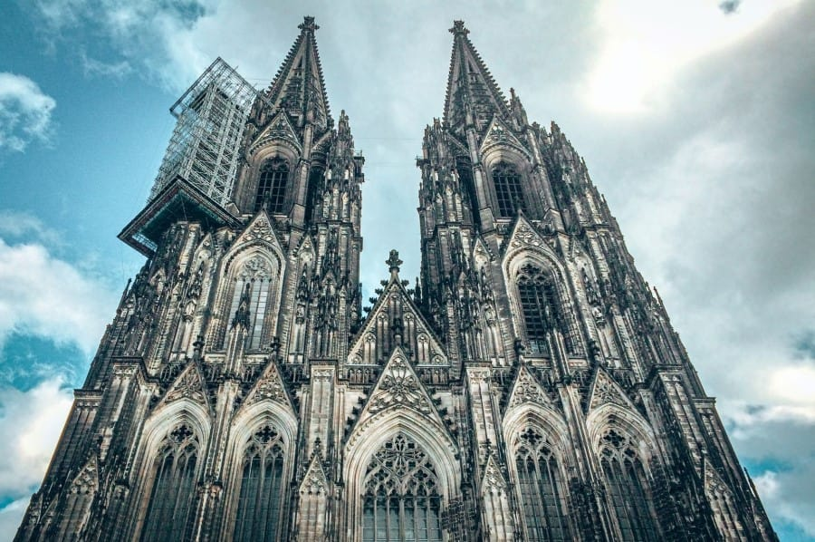 view to the top of the Cologne cathedral