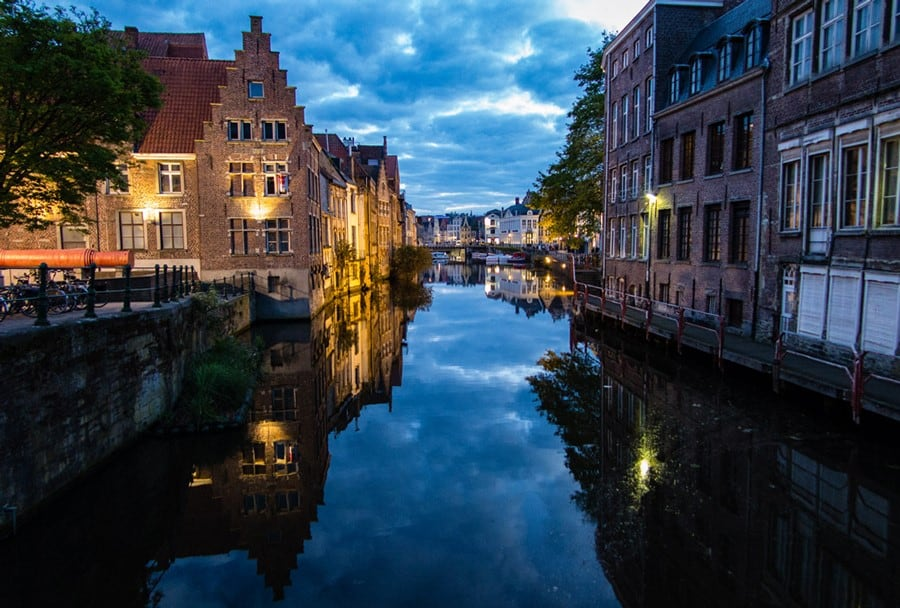 evening view of the canal in Ghent