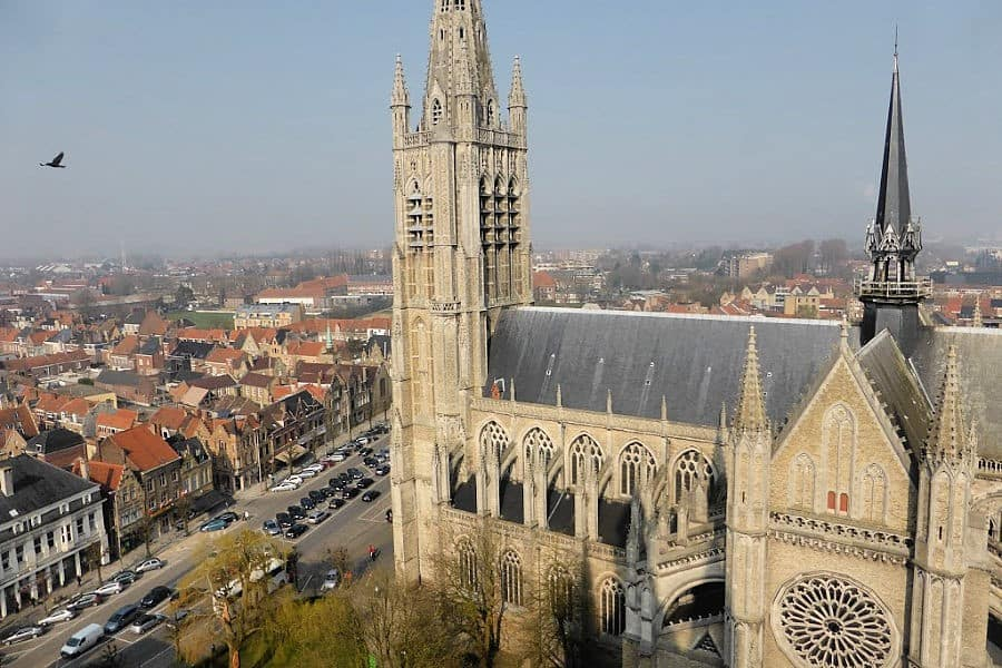 top view over Ypres' church and city